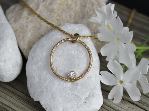 14k Yellow Gold Diamond Pendant, Diamond Circle Pendant, Everyday Necklace, Recycled Gold, Conflict Free, Ready to Ship Neckwear