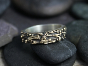 Oxidized 14k Yellow Gold Sterling Silver Band - Wedding Band - Twig Ring - Inspired by Nature - Organic Ring - Ready to Ship Size 8