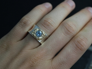 Silver Gold Sky Blue Topaz Ring , Fused 14k Yellow Gold Ring, Organic Ring, Silver Concave Ring , Made to order