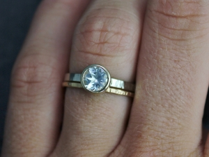 Aquamarine 14k Yellow Gold Bezel Set Ring, Sterling Silver and 14k Gold, Aquamarine Ring, Stacking Ring, Made to Order