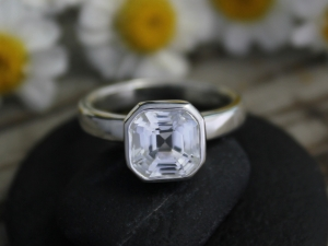 Asscher Cut White Topaz Ring - Sterling Silver Ring - Alternative Engagement Ring - Stackable Ring - Ready to Ship Size 6.5