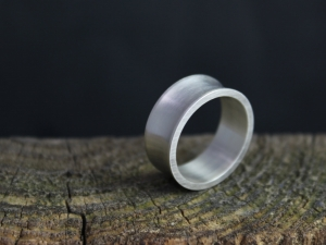 Brushed Sterling Silver Band, 8mm Concave Band, Unisex Band, Matching Wedding Bands, Ready to Ship 7, 8