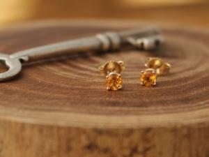 14k Yellow Gold Citrine Studs, Small Citrine Earrings, November Birthstone, 4mm Gemstone Studs, Ready to Ship