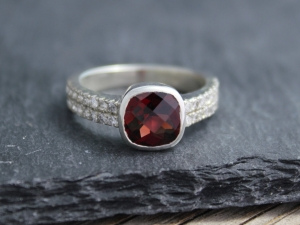 Checkerboard Garnet and Diamond Ring - Sterling Silver Ring - Bezel Set Garnet - 8mm x 8mm Garnet - One of a Kind - Ready to Ship Size 8