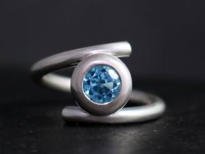 Blue Topaz Statement Ring in Sterling Silver, 6mm Gemstone, Tension Set, Big Gemstone Ring, December Birthstone, Ready to Ship Size 6.5