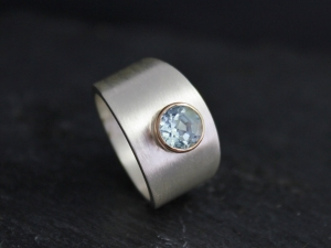 Bezel Set Aquamarine Ring, 14k Yellow Gold & Sterling Silver Ring, Gold Bezel Ring, Wide Tapered Ring, Ready to Ship Size 6