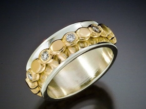 14 kt yellow gold eternity band with diamonds pebble ring stackable ring with 8mm wide silver band