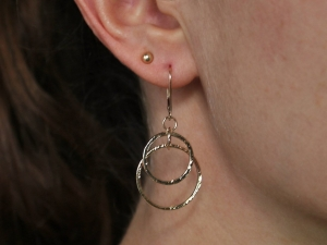 14k Yellow Gold  Hammered Hoop Dangle Earrings with Lever backs, Double Hoops, Solid Gold, Textured Earrings