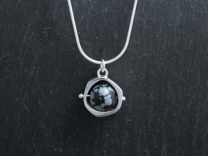 Snowflake Obsidian Pendant, Sterling Silver Pendant, Obsidian Bead Pendant, Spinning Ball, Ready to Ship Neckwear
