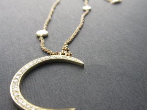 18k Yellow Gold Crescent Moon pendant, Handmade Rolo Chain Link Necklace, Diamond pendant, Diamond Necklace, Celestial, Gift For Her