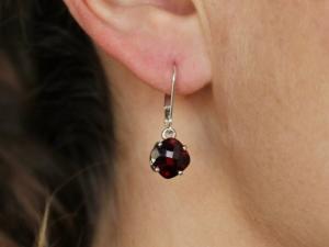 Cushion Cut Garnet Dangle Earrings, Sterling Silver Garnet Earrings, Leverback, 8mm Cushion Cut, January Birthstone, Ready to Ship Earrings