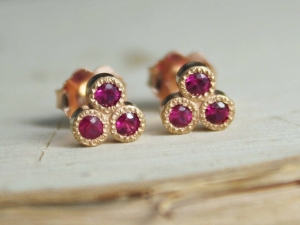 14k Rose Gold Ruby Three Stone Stud Earrings, Trio Stud Earrings, Ruby Studs, Trinity Triangle Studs, 14k Gold Posts, Ready to Ship