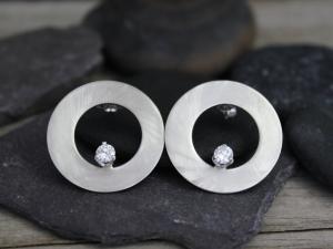 14k White Gold Diamond Earrings - Brushed Earrings - Drop Earrings - Circle Earrings - Ready to Ship