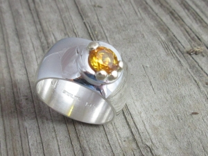 sterling silver  14kt gold Citrine  wide band ring