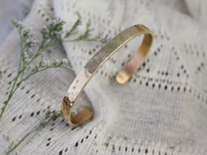 Hammered Yellow Gold Cuff Bracelet, Handmade Yellow Gold Bracelet, Solid 14k Yellow Gold Cuff Bracelet, 5.5mm Wide, Ready to Ship