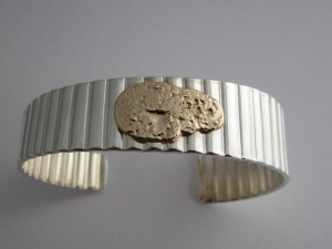 Sterling Silver & 14k Yellow Gold Cuff Bracelet, Free Form, One of a Kind, Mens Cuff Bracelet, Corrugated Silver, Ready to Ship Bracelet