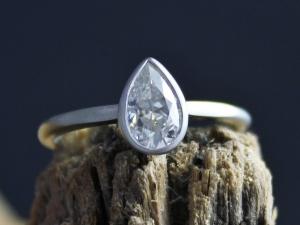 14k White Gold Pear Shape Moissanite Ring, Solitaire Pear Cut Moissanite, Bridal Set, Engagement Ring,