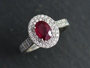 14k White Gold Halo Gemstone Ring, Moissanite Details, Custom Ring, Customizable, Ruby Halo, Engagement Ring, Made to Order