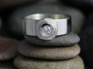Cairn Rock Ring, Diamond Stacking Ring, Inspired by Nature, Organic Ring, Eco Friendly Sterling Silver and Diamond Ring, Made to Order