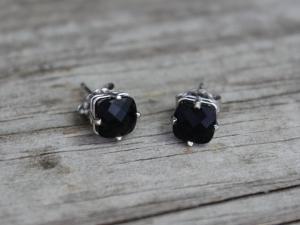 Black Onyx 14k White Gold Stud Earrings - 6mm Black Onyx Studs - Gemstone Earrings - Ready to Ship