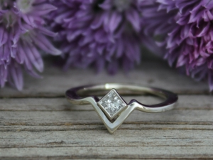 14k White Gold Moissanite 4mm Ring, Solitaire Chevron Ring, Princess Cut Moissanite, One of a Kind, Alternative engagement, non-traditional engagement,
