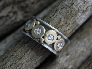 Diamond Pebble Ring Silver Gold, 8mm 4 Stone, Sterling Silver and 14k Yellow Gold Diamond Ring, Stacking Ring, Ready to Ship Size 6