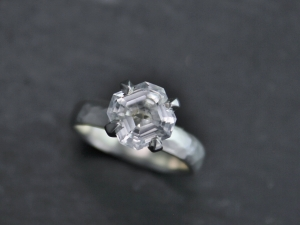 Asscher Cut White Topaz Ring, 8mm Asscher Cut, Heart Shape, Claw Prong, Sterling Silver, White Topaz Solitaire, Cocktail, Ready to Ship 6.5