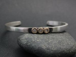 Sterling Silver & Gold Diamond Pebble Cuff Bracelet, Diamond Pebble Cuff,  Ready to Ship Bracelet