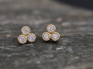 14k Yellow Gold Diamond Three Stone Stud Earrings, Trio Stud Earrings, Trinity Triangle Studs, 14k Gold Posts, Made to Order