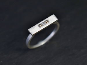 Sterling Silver 14k Yellow Gold Marquise Diamond Ring, Silver and Gold Ring, Stackable Ring, Modern, Minimalist, Ready to Ship Size 7