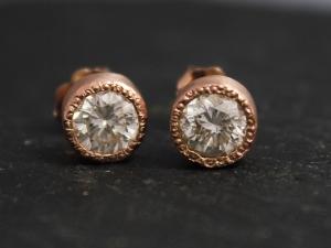 14k Rose Gold Moissanite Stud Earrings, Bezel Set Stud Earrings, Textured Bezel, Bridesmaid Earrings, Anniversary, Made to Order
