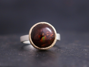 Fire Agate in 14k Gold and Sterling Silver, 14k Yellow Gold Bezel, Textured Bezel, Mixed Metals, One of a Kind, Ready to Ship Size 7.5