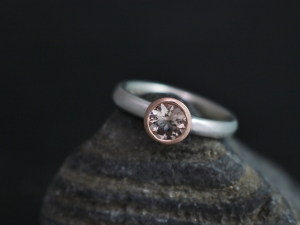 6mm Morganite 14k Rose Gold Ring, Sterling Silver and 14k Gold, Mixed Metals, Bezel Set, Pink Gemstone, Ready to Ship Size 6.75