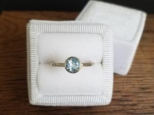 Aquamarine Bezel Set Ring - 14k White Gold Round Aquamarine Ring - Alternative Engagement Ring - Made to Order