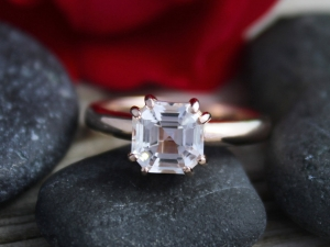 14k Rose Gold Asscher Cut White Topaz Ring, Diamond Alternative, Alternative Engagement Ring, Prong Set, Eco Friendly, Ready to Ship