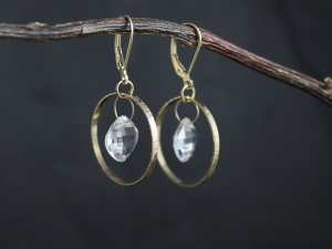 Hammered Gold Hoop Earrings, with, Pure Quartz Briolette, One of a Kind Dangle Earrings, High Fashion, Handmade, Solid 14k Gold earrings, statement earrings,