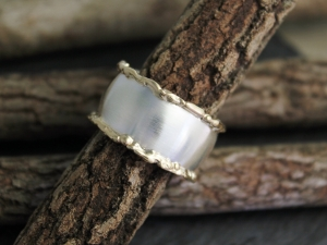 Gold Edged Ring, 14k Yellow Gold & Sterling Silver Ring, 12mm Wide Band, Organic Twig Ring, Wedding Band, Eco Friendly, Ready to Ship SZ 10