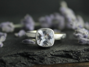 Cushion Cut White Topaz Ring, 8mm Bezel Set White Topaz, Sterling Silver Bling Ring, Big Solitaire Gemstone Ring, Ready to Ship Size 7