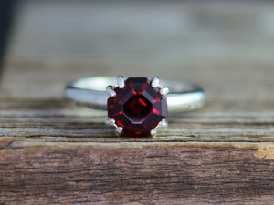 Asscher Cut Garnet Ring, Sterling Silver Garnet Ring, Garnet Solitaire, Double Prong Ring, January Birthstone,Made to order