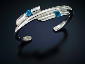 Sterling silver bracelet Blue topaz handmade