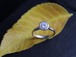Moissanite Ring, 14k White Gold Engagement Ring, Satellite Ring, Bezel set solitaire, Made to order