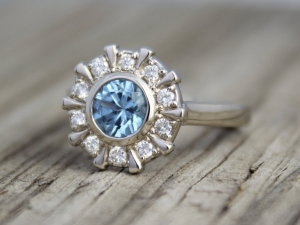 Blue Zircon and Diamond Ring, 14k White Gold Ring, Halo Ring, Flower Ring, Eco Friendly, Stackable, Unique Ring  Made to order ring