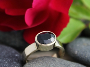 14k Yellow Gold Black Spinel Ring, Black Sapphire Ring, Oval Ring, Alternative Engagement Ring, Ready to Ship Gold Ring