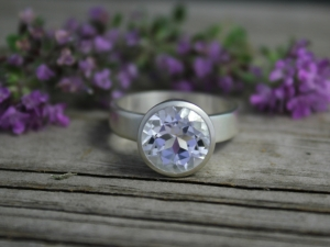 Brushed Sterling Silver White Topaz Ring - Round 10mm Bezel Set Ring - Bling Ring - Ready to Ship Size 8