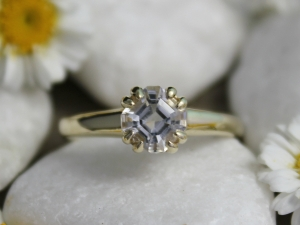 14k Yellow Gold White Topaz Ring, Asscher Cut White Topaz, Alternative Engagement Ring, Double Prong, Made to order