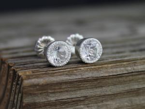 6mm White Topaz Sterling Silver Stud Earrings, Textured Bezel Set Stud Earrings, 14k White Gold Posts, Big Gemstone Studs