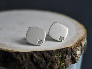 14k White Gold and Diamond Earrings, Diamond Shape Earrings, Modern Minimalist, White Gold Studs, Diamond Accent Earrings, Ready to Ship