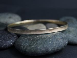 14k Brushed Yellow Gold Bangle Bracelet - Solid Gold Bracelet - Handmade Bangle - Hammered Bangle - Made to Order