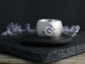 Wide White Topaz Ring, Sterling Silver Button Ring, Domed Ring, Silver & 18k Gold Ring,