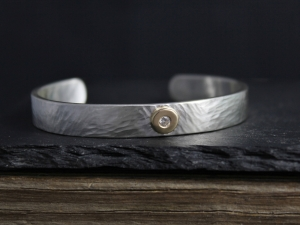 Sterling Silver Cuff Bracelet with 14k Yellow Gold Diamond Button, Hammered Cuff, 8mm Wide, Diamond Pebble, Ready to Ship